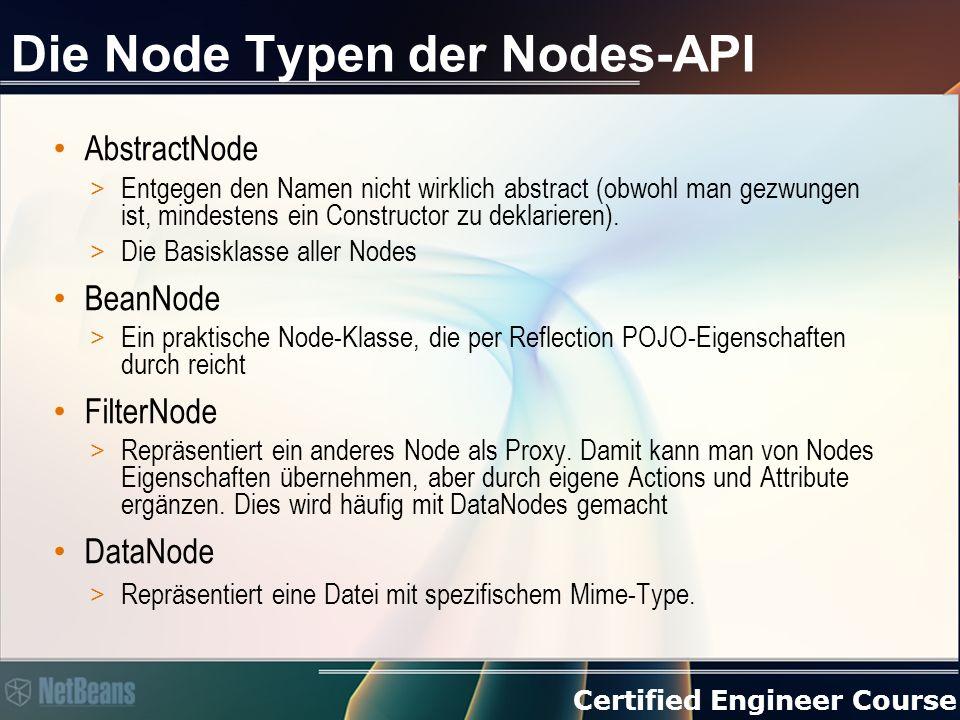 Certified Engineer Course Die Node Typen der Nodes-API AbstractNode > Entgegen den Namen nicht wirklich abstract (obwohl man gezwungen ist, mindestens