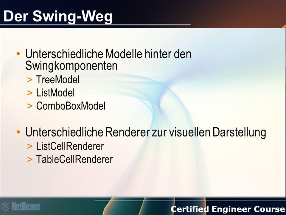 Certified Engineer Course Der Swing-Weg Unterschiedliche Modelle hinter den Swingkomponenten > TreeModel > ListModel > ComboBoxModel Unterschiedliche