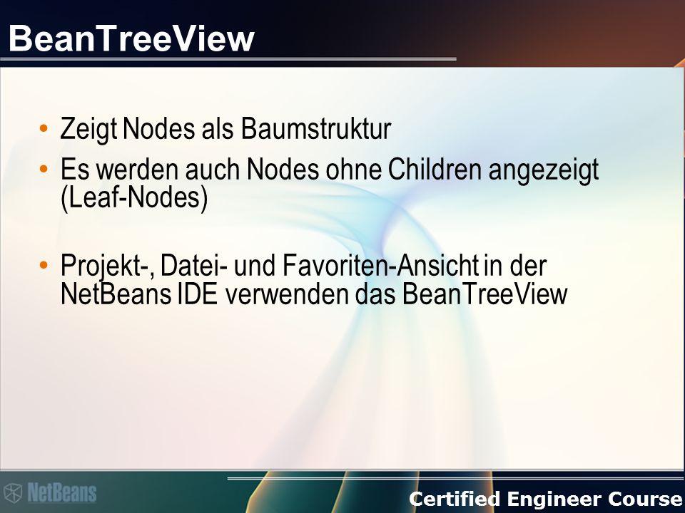 Certified Engineer Course BeanTreeView Zeigt Nodes als Baumstruktur Es werden auch Nodes ohne Children angezeigt (Leaf-Nodes) Projekt-, Datei- und Favoriten-Ansicht in der NetBeans IDE verwenden das BeanTreeView