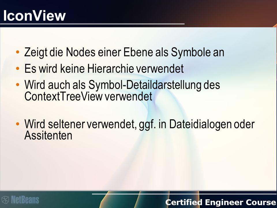 Certified Engineer Course IconView Zeigt die Nodes einer Ebene als Symbole an Es wird keine Hierarchie verwendet Wird auch als Symbol-Detaildarstellung des ContextTreeView verwendet Wird seltener verwendet, ggf.