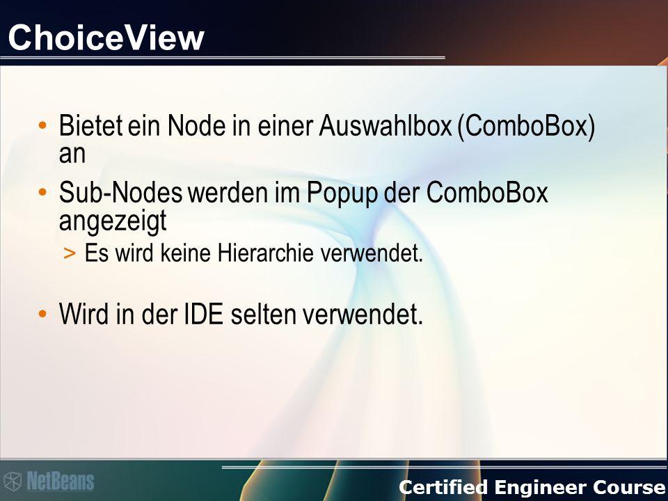 Certified Engineer Course ChoiceView Bietet ein Node in einer Auswahlbox (ComboBox) an Sub-Nodes werden im Popup der ComboBox angezeigt > Es wird keine Hierarchie verwendet.