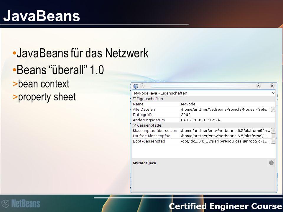 Certified Engineer Course Nodes Typisierte JavaBeans > Kein Reflection > Standard Listeners > Erweiterungsfähig Unterstützen Hierarchien Brücke zu Beans über BeanNode