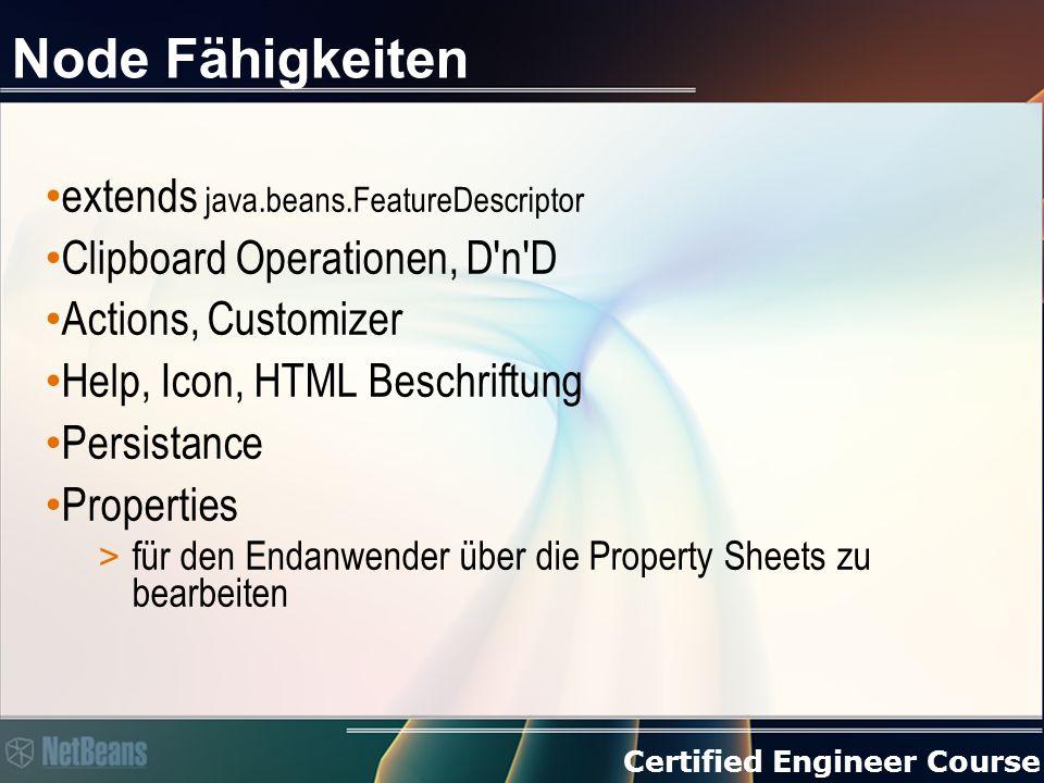 Certified Engineer Course Node Fähigkeiten extends java.beans.FeatureDescriptor Clipboard Operationen, D'n'D Actions, Customizer Help, Icon, HTML Besc