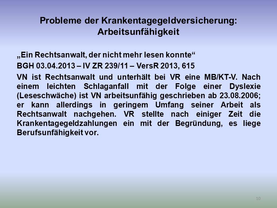"""Probleme der Krankentagegeldversicherung: Arbeitsunfähigkeit """"Ein Rechtsanwalt, der nicht mehr lesen konnte BGH 03.04.2013 – IV ZR 239/11 – VersR 2013, 615 VN ist Rechtsanwalt und unterhält bei VR eine MB/KT-V."""