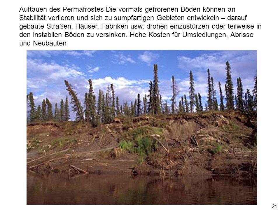 21 Auftauen des Permafrostes Die vormals gefrorenen Böden können an Stabilität verlieren und sich zu sumpfartigen Gebieten entwickeln – darauf gebaute Straßen, Häuser, Fabriken usw.