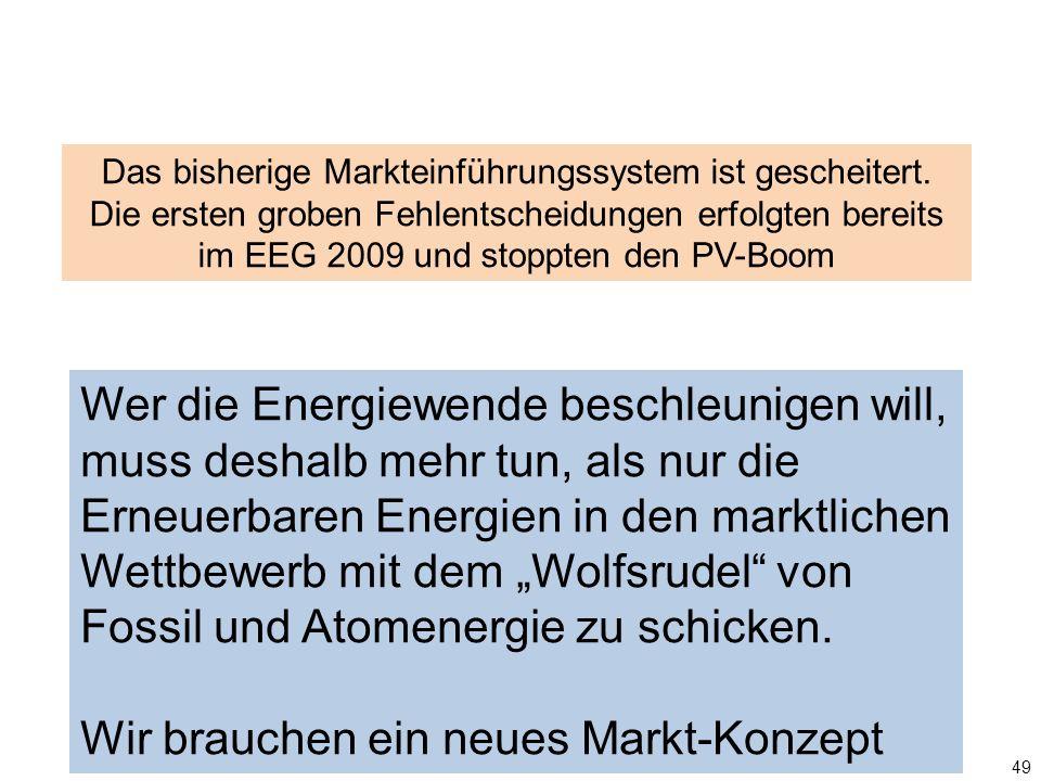 49 Das bisherige Markteinführungssystem ist gescheitert. Die ersten groben Fehlentscheidungen erfolgten bereits im EEG 2009 und stoppten den PV-Boom W