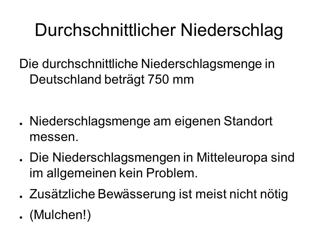 Durchschnittlicher Niederschlag Die durchschnittliche Niederschlagsmenge in Deutschland beträgt 750 mm ● Niederschlagsmenge am eigenen Standort messen.