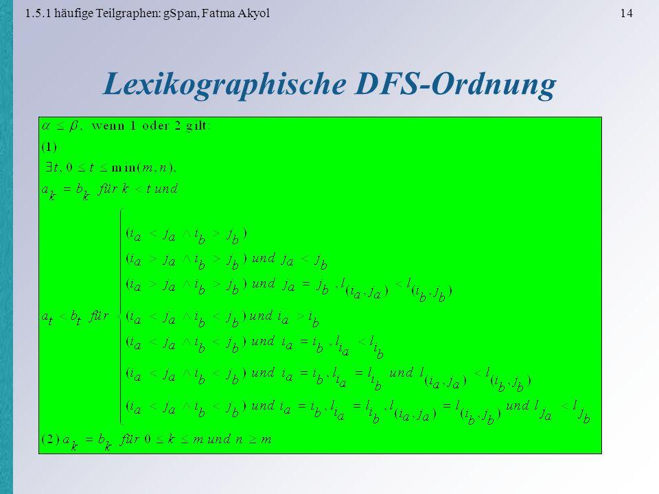 1.5.1 häufige Teilgraphen: gSpan, Fatma Akyol 14 Lexikographische DFS-Ordnung