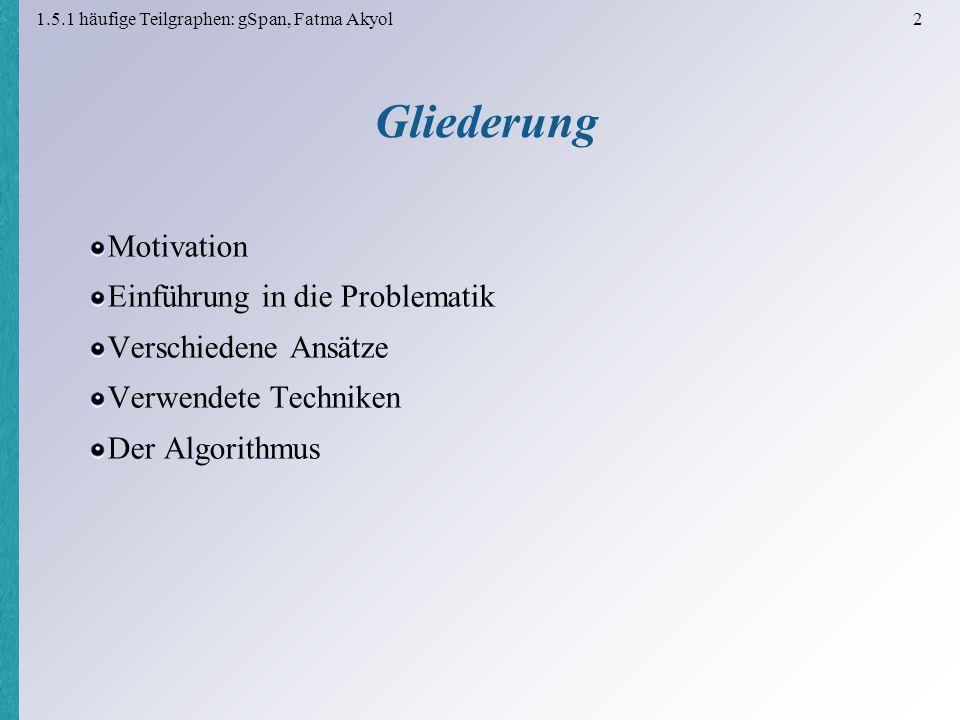 1.5.1 häufige Teilgraphen: gSpan, Fatma Akyol 3 Motivation Menge aus organischen chemischen Stoffen Suche nach Strukturen mit gleicher Grundstruktur (häufige Bestandteile) Suche nach einer bestimmten Struktur (krebserregende Bestandteile) gleich Unterschied KnotenKanten