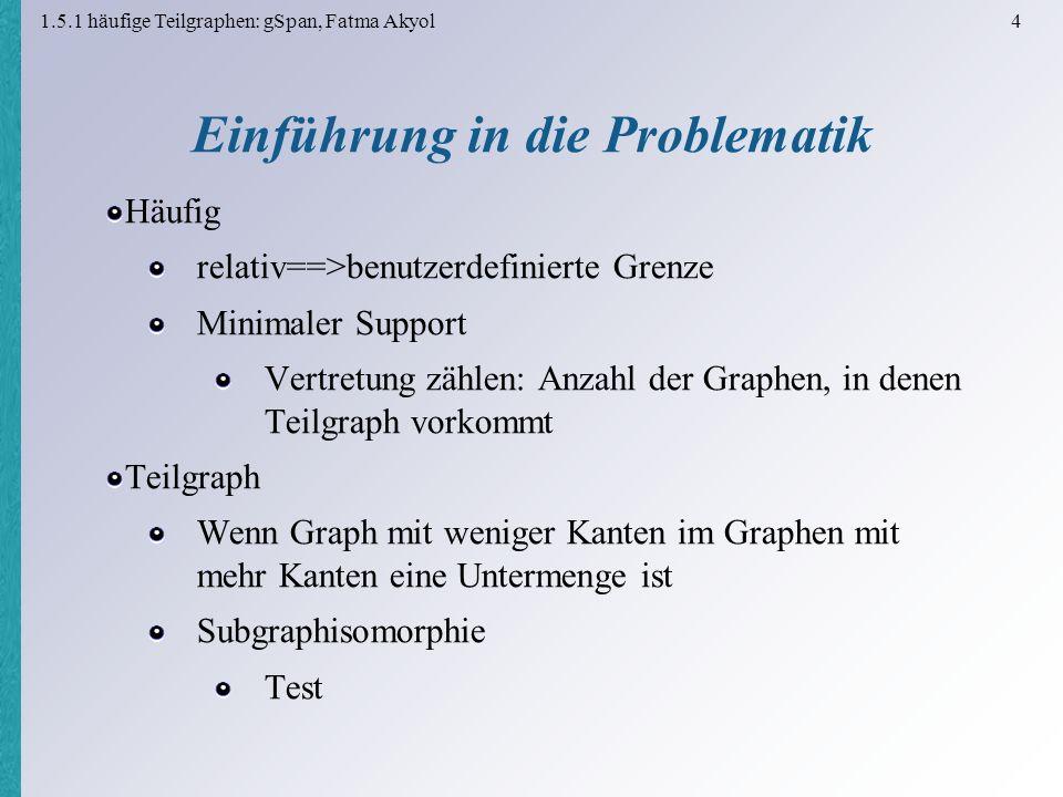 1.5.1 häufige Teilgraphen: gSpan, Fatma Akyol 4 Einführung in die Problematik Häufig relativ==>benutzerdefinierte Grenze Minimaler Support Vertretung zählen: Anzahl der Graphen, in denen Teilgraph vorkommt Teilgraph Wenn Graph mit weniger Kanten im Graphen mit mehr Kanten eine Untermenge ist Subgraphisomorphie Test