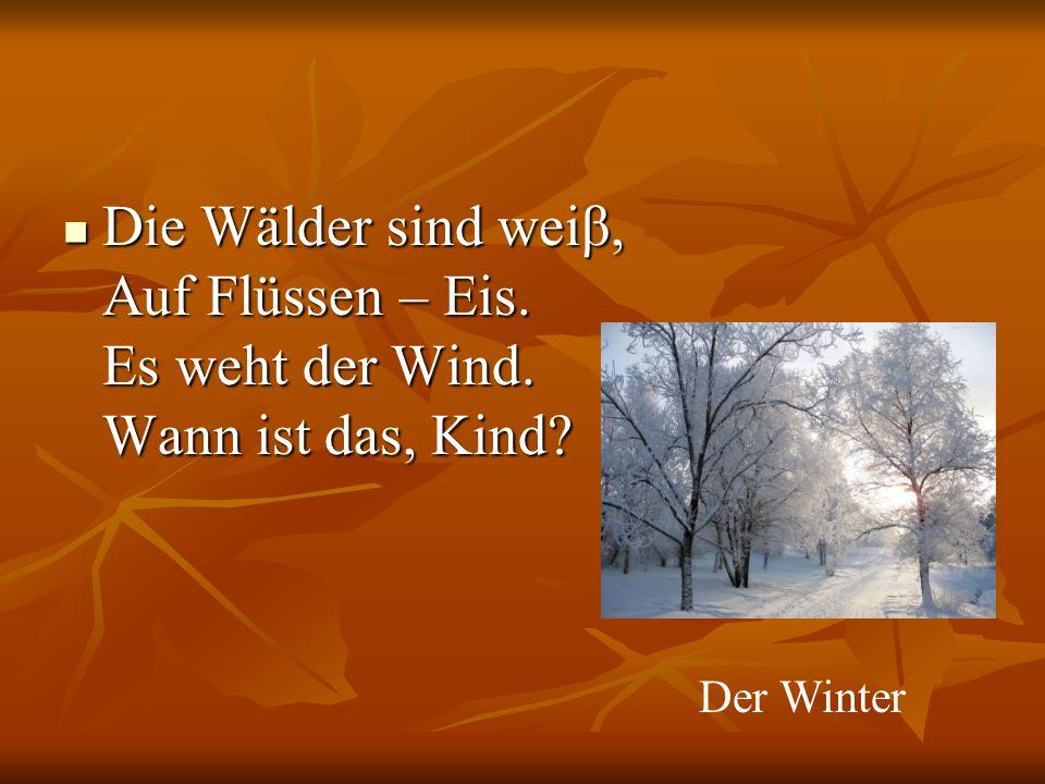 Die Wälder sind weiβ, Auf Flüssen – Eis. Es weht der Wind.