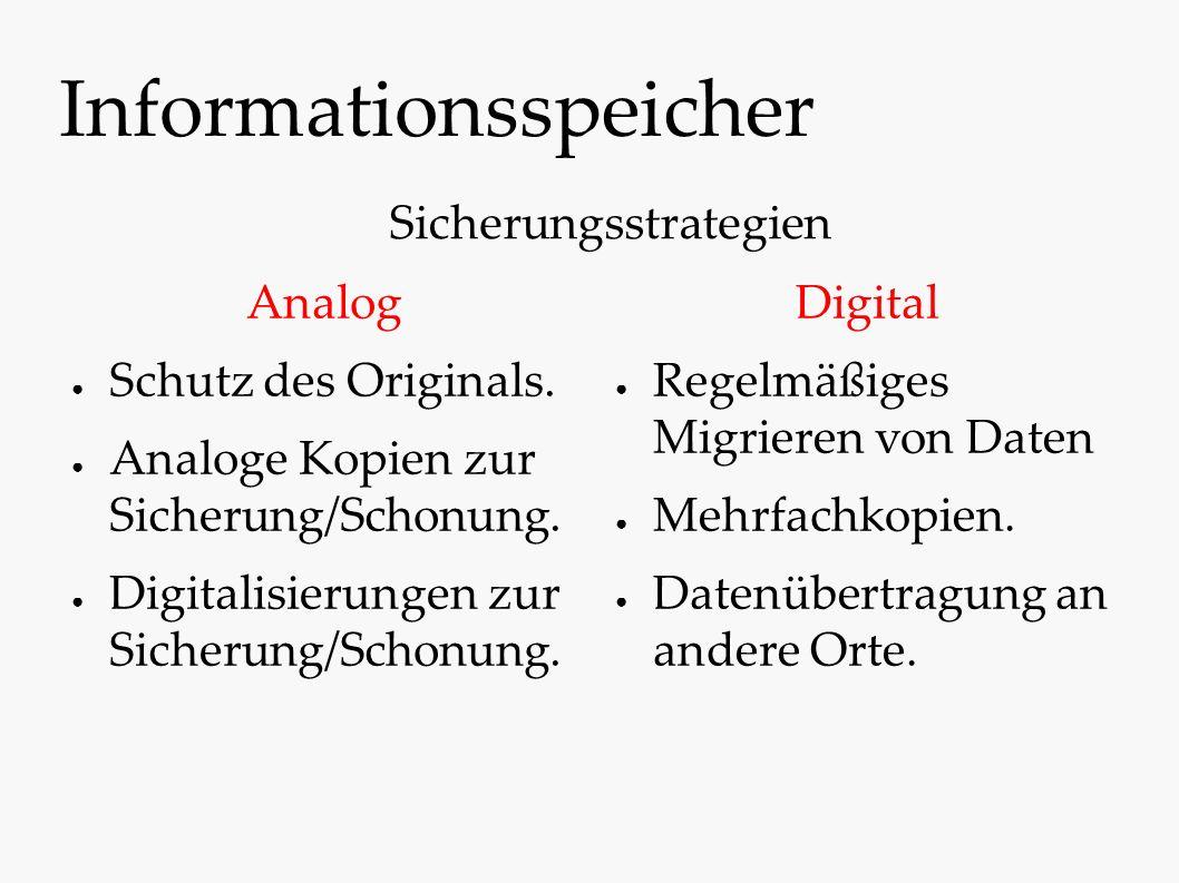 Informationsspeicher Analog ● Schutz des Originals. ● Analoge Kopien zur Sicherung/Schonung. ● Digitalisierungen zur Sicherung/Schonung. Digital ● Reg