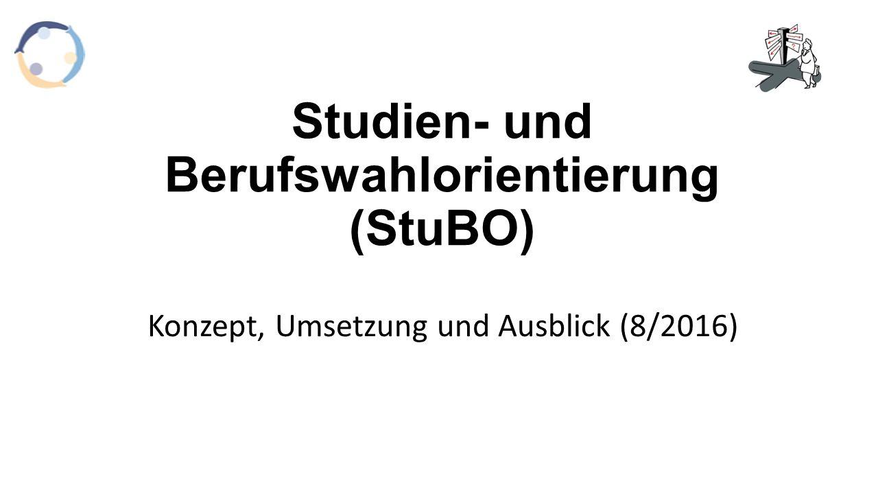 Studien- und Berufswahlorientierung (StuBO) Konzept, Umsetzung und Ausblick (8/2016)