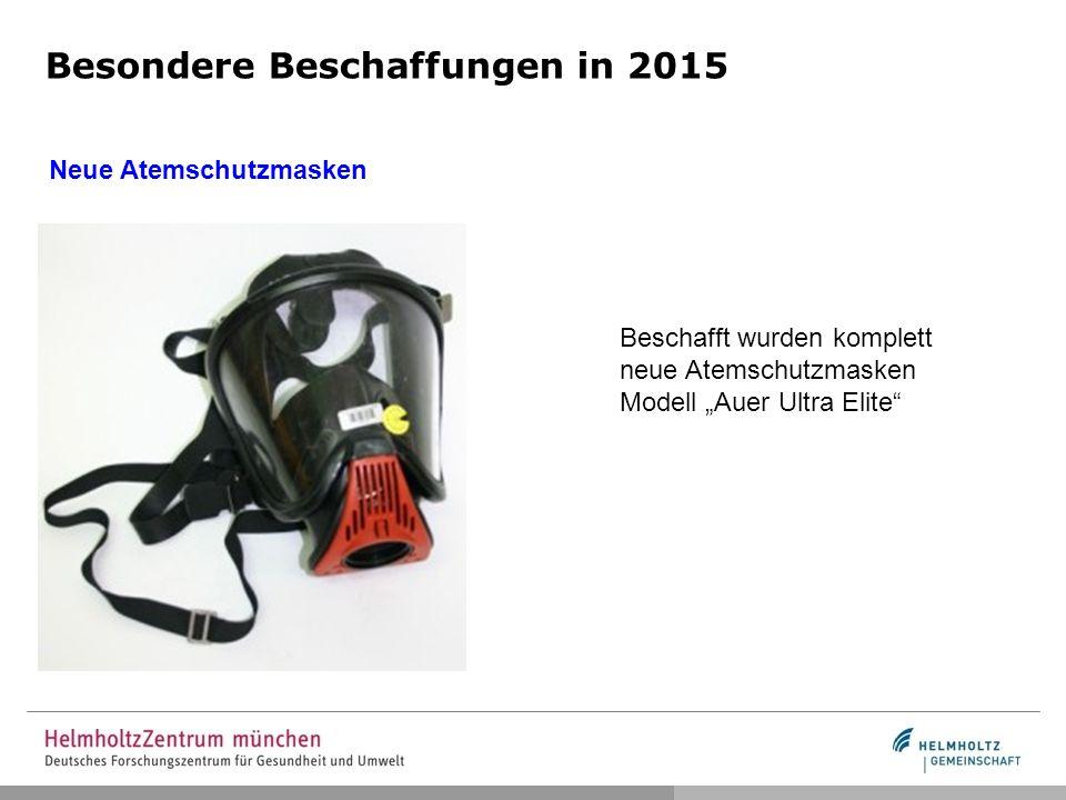 """Besondere Beschaffungen in 2015 Neue Atemschutzmasken Beschafft wurden komplett neue Atemschutzmasken Modell """"Auer Ultra Elite"""