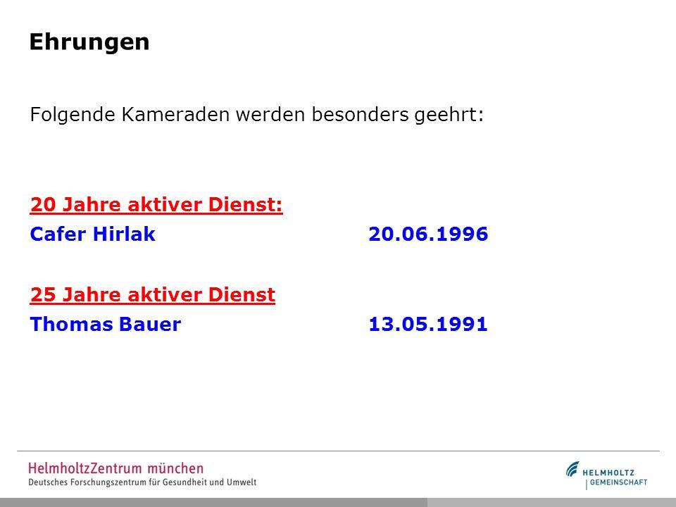 Ehrungen Folgende Kameraden werden besonders geehrt: 20 Jahre aktiver Dienst: Cafer Hirlak20.06.1996 25 Jahre aktiver Dienst Thomas Bauer13.05.1991