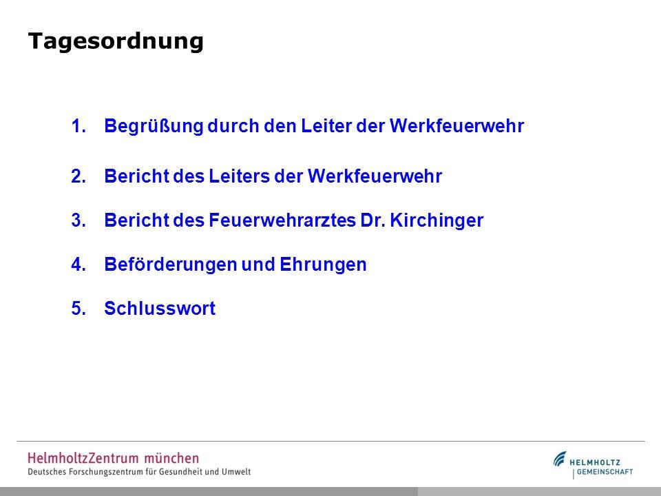 Tagesordnung 1.Begrüßung durch den Leiter der Werkfeuerwehr 2.Bericht des Leiters der Werkfeuerwehr 3.Bericht des Feuerwehrarztes Dr.