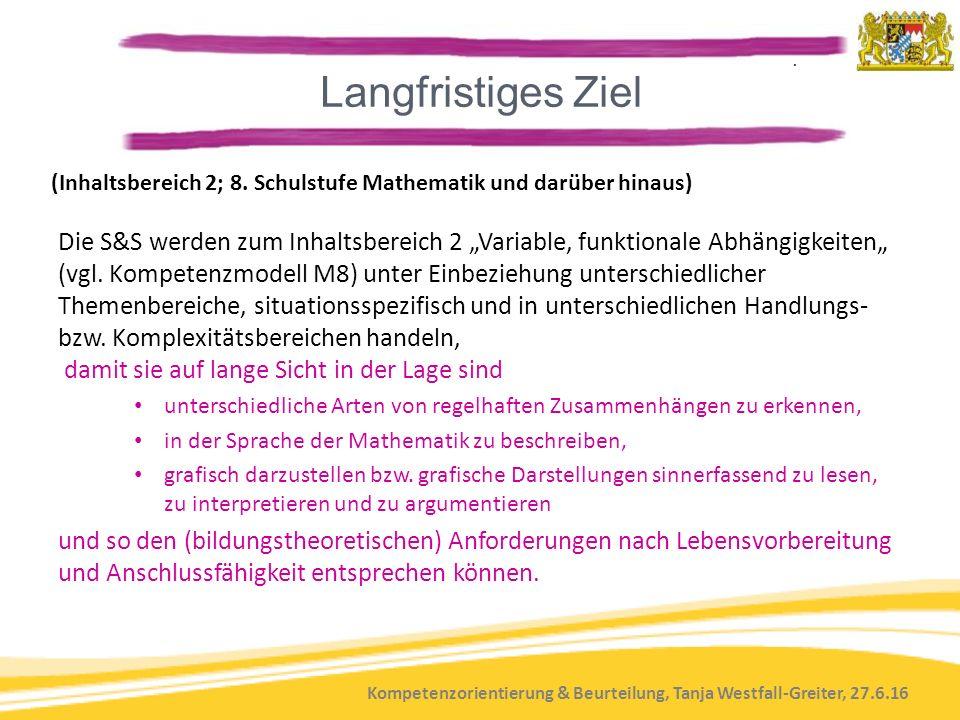 Kompetenzorientierung & Beurteilung, Tanja Westfall-Greiter, 27.6.16 (Inhaltsbereich 2; 8. Schulstufe Mathematik und darüber hinaus) Die S&S werden zu