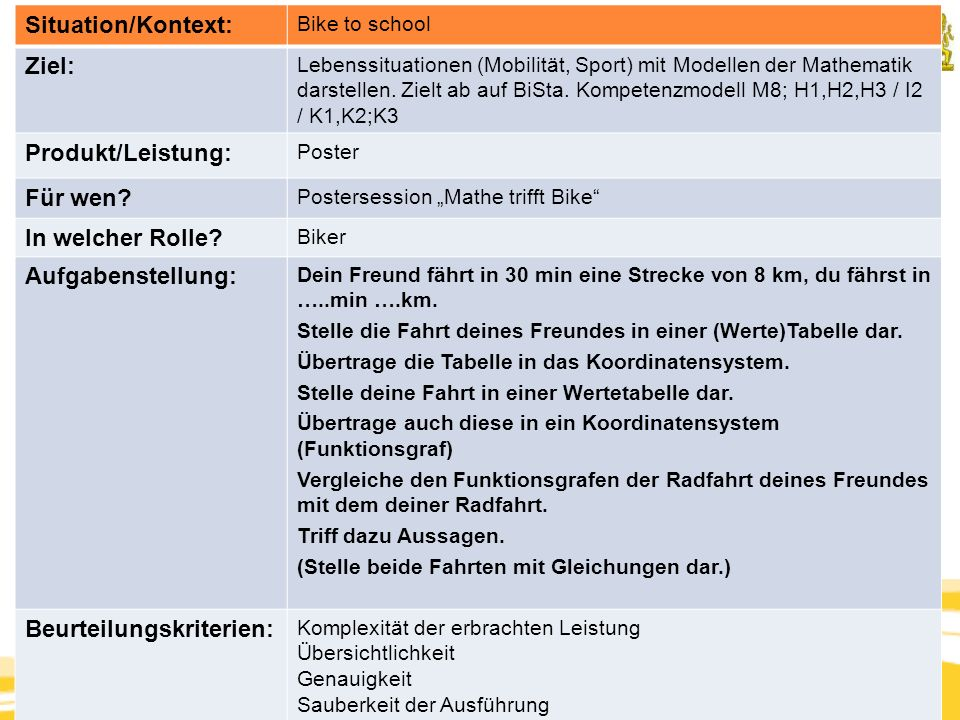 Kompetenzorientierung & Beurteilung, Tanja Westfall-Greiter, 27.6.16 Situation/Kontext: Bike to school Ziel: Lebenssituationen (Mobilität, Sport) mit Modellen der Mathematik darstellen.