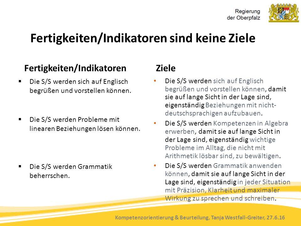 Kompetenzorientierung & Beurteilung, Tanja Westfall-Greiter, 27.6.16 Fertigkeiten/Indikatoren sind keine Ziele Fertigkeiten/Indikatoren  Die S/S werden sich auf Englisch begrüßen und vorstellen können.