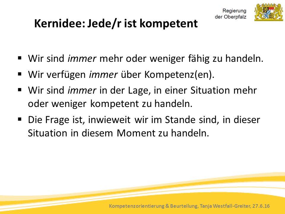 Kompetenzorientierung & Beurteilung, Tanja Westfall-Greiter, 27.6.16 Kernidee: Jede/r ist kompetent  Wir sind immer mehr oder weniger fähig zu handeln.