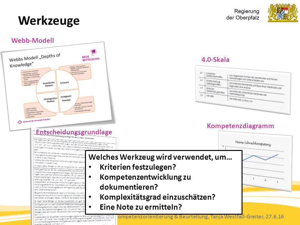 Kompetenzorientierung & Beurteilung, Tanja Westfall-Greiter, 27.6.16 Werkzeuge 4.0-Skala Kompetenzdiagramm Webb-Modell Entscheidungsgrundlage Welches