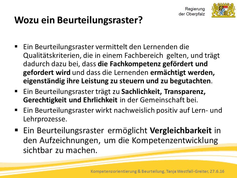 Kompetenzorientierung & Beurteilung, Tanja Westfall-Greiter, 27.6.16 Wozu ein Beurteilungsraster?  Ein Beurteilungsraster vermittelt den Lernenden di