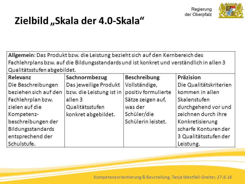 """Kompetenzorientierung & Beurteilung, Tanja Westfall-Greiter, 27.6.16 Zielbild """"Skala der 4.0-Skala Allgemein: Das Produkt bzw."""