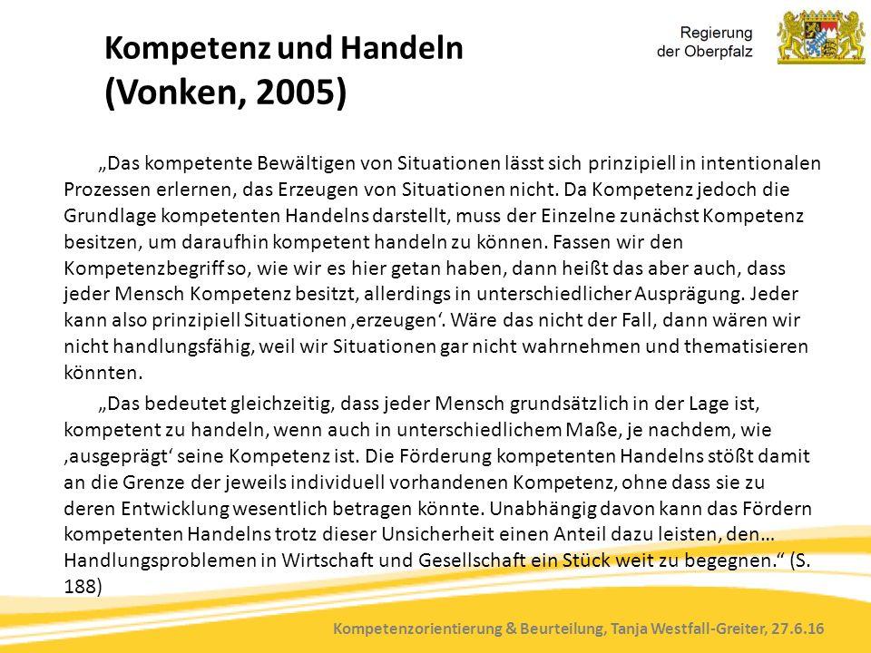 """Kompetenzorientierung & Beurteilung, Tanja Westfall-Greiter, 27.6.16 Kompetenz und Handeln (Vonken, 2005) """"Das kompetente Bewältigen von Situationen lässt sich prinzipiell in intentionalen Prozessen erlernen, das Erzeugen von Situationen nicht."""