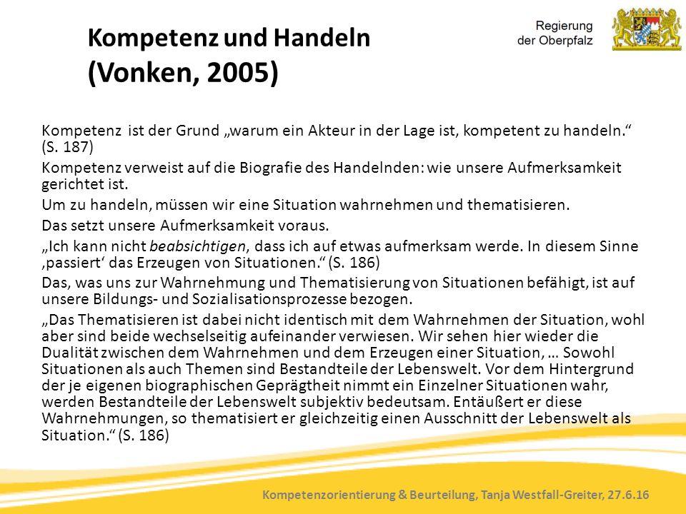 """Kompetenzorientierung & Beurteilung, Tanja Westfall-Greiter, 27.6.16 Kompetenz und Handeln (Vonken, 2005) Kompetenz ist der Grund """"warum ein Akteur in"""