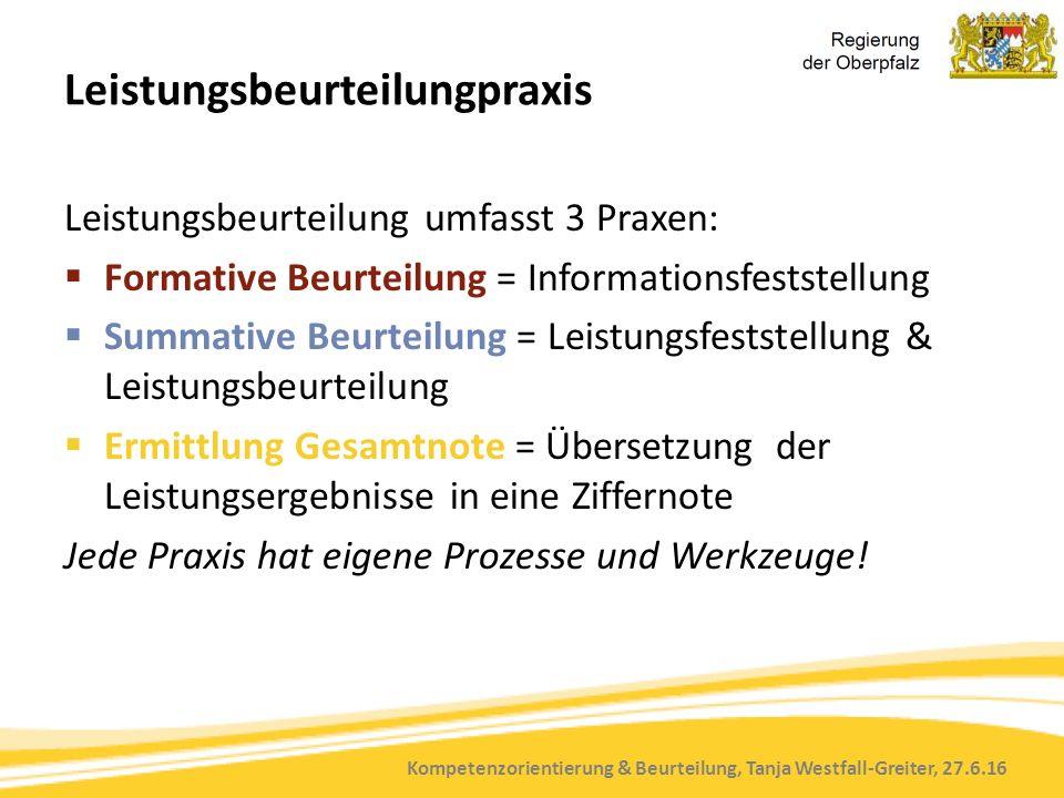 Kompetenzorientierung & Beurteilung, Tanja Westfall-Greiter, 27.6.16 Leistungsbeurteilungpraxis Leistungsbeurteilung umfasst 3 Praxen:  Formative Beu
