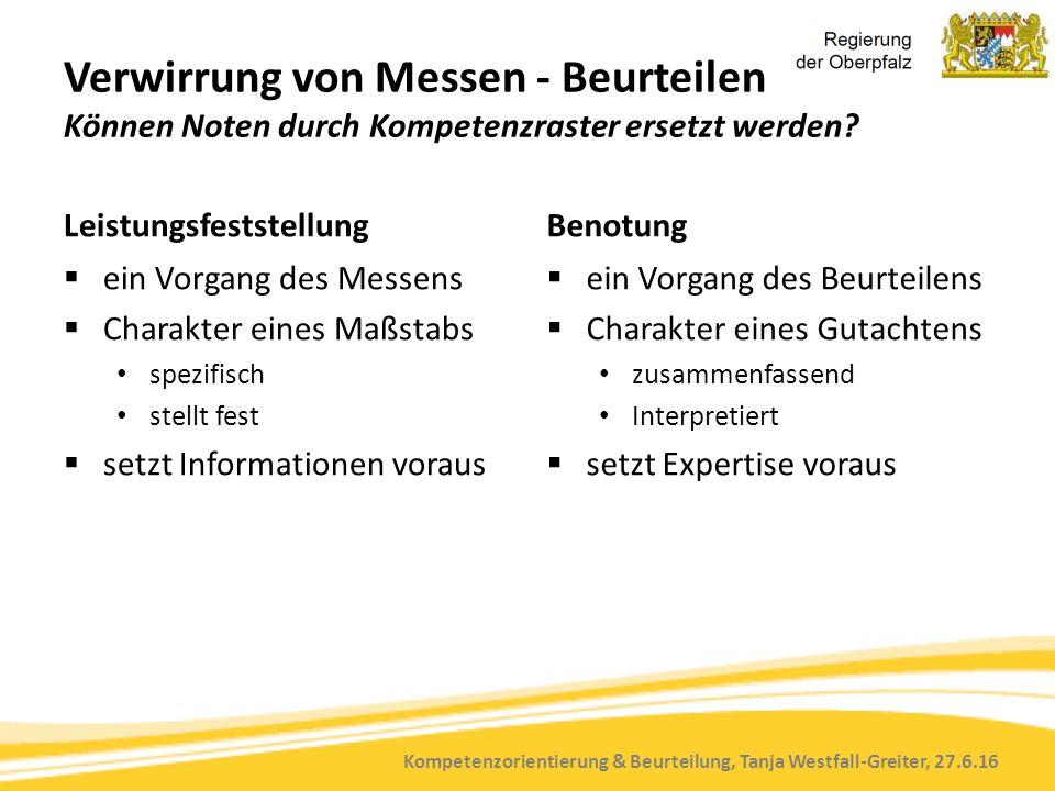 Kompetenzorientierung & Beurteilung, Tanja Westfall-Greiter, 27.6.16 Verwirrung von Messen - Beurteilen Können Noten durch Kompetenzraster ersetzt werden.