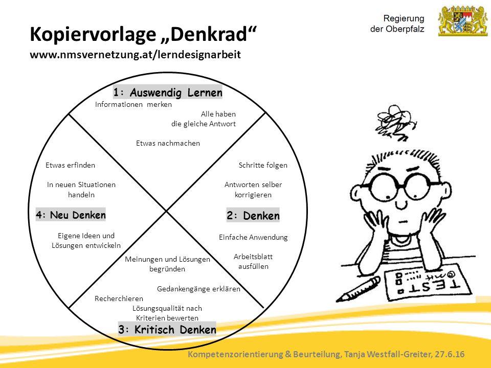 """Kompetenzorientierung & Beurteilung, Tanja Westfall-Greiter, 27.6.16 Kopiervorlage """"Denkrad"""" www.nmsvernetzung.at/lerndesignarbeit Meinungen und Lösun"""