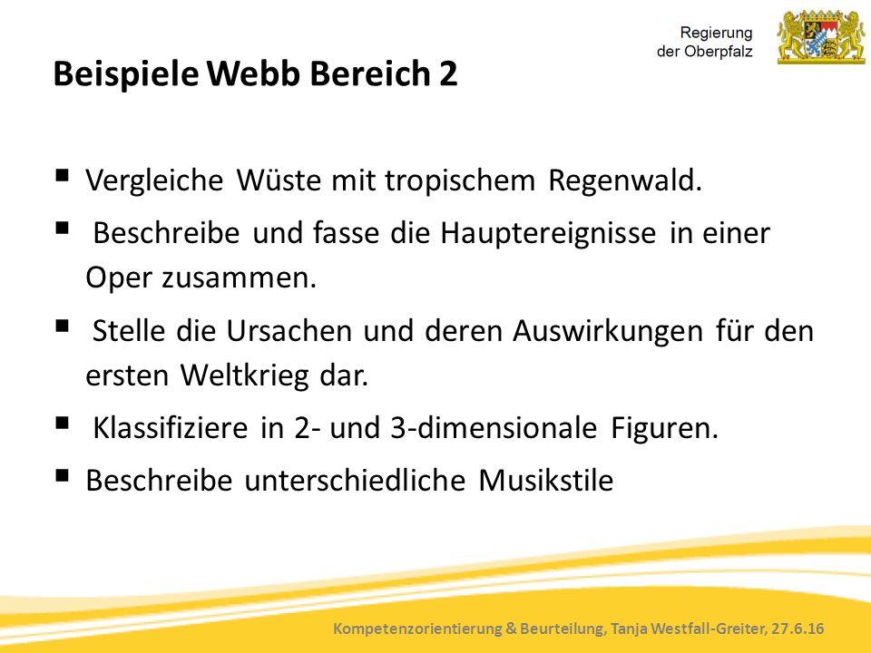 Kompetenzorientierung & Beurteilung, Tanja Westfall-Greiter, 27.6.16 Beispiele Webb Bereich 2  Vergleiche Wüste mit tropischem Regenwald.  Beschreib