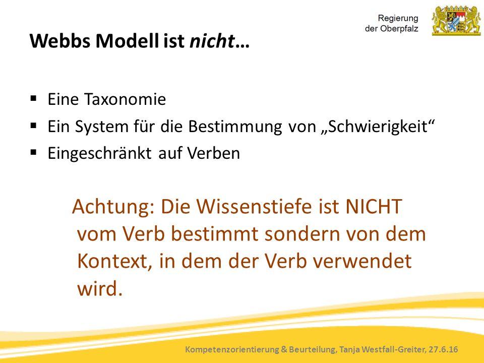 """Kompetenzorientierung & Beurteilung, Tanja Westfall-Greiter, 27.6.16 Webbs Modell ist nicht…  Eine Taxonomie  Ein System für die Bestimmung von """"Schwierigkeit  Eingeschränkt auf Verben Achtung: Die Wissenstiefe ist NICHT vom Verb bestimmt sondern von dem Kontext, in dem der Verb verwendet wird."""
