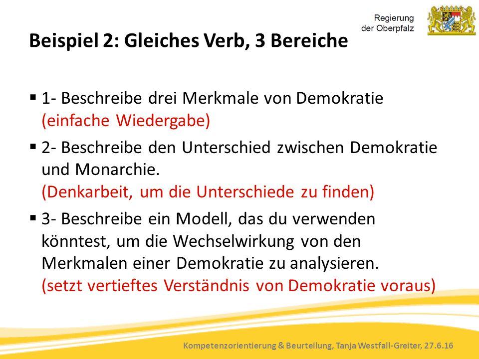 Kompetenzorientierung & Beurteilung, Tanja Westfall-Greiter, 27.6.16 Beispiel 2: Gleiches Verb, 3 Bereiche  1- Beschreibe drei Merkmale von Demokratie (einfache Wiedergabe)  2- Beschreibe den Unterschied zwischen Demokratie und Monarchie.
