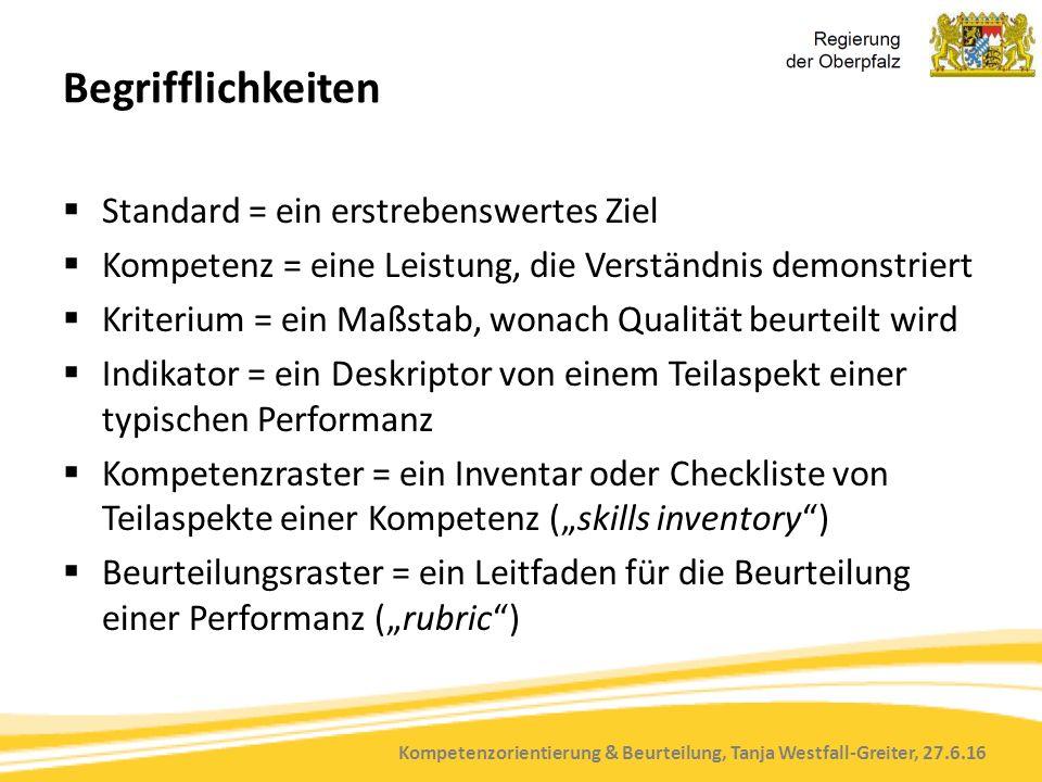 """Kompetenzorientierung & Beurteilung, Tanja Westfall-Greiter, 27.6.16 Begrifflichkeiten  Standard = ein erstrebenswertes Ziel  Kompetenz = eine Leistung, die Verständnis demonstriert  Kriterium = ein Maßstab, wonach Qualität beurteilt wird  Indikator = ein Deskriptor von einem Teilaspekt einer typischen Performanz  Kompetenzraster = ein Inventar oder Checkliste von Teilaspekte einer Kompetenz (""""skills inventory )  Beurteilungsraster = ein Leitfaden für die Beurteilung einer Performanz (""""rubric )"""