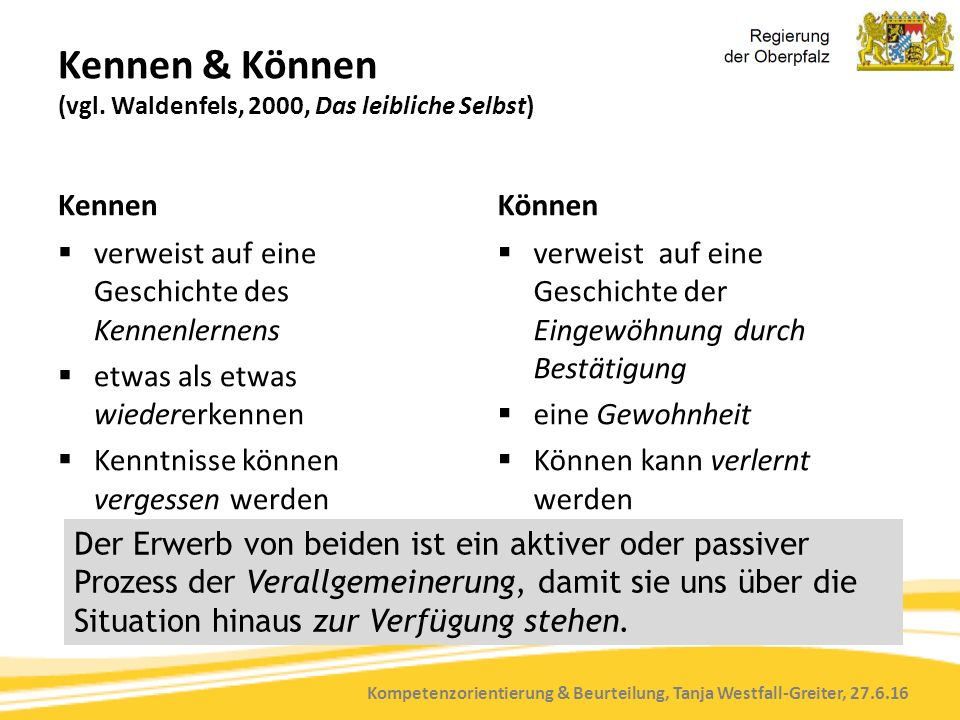 Kompetenzorientierung & Beurteilung, Tanja Westfall-Greiter, 27.6.16 Kennen & Können (vgl. Waldenfels, 2000, Das leibliche Selbst) Kennen  verweist a