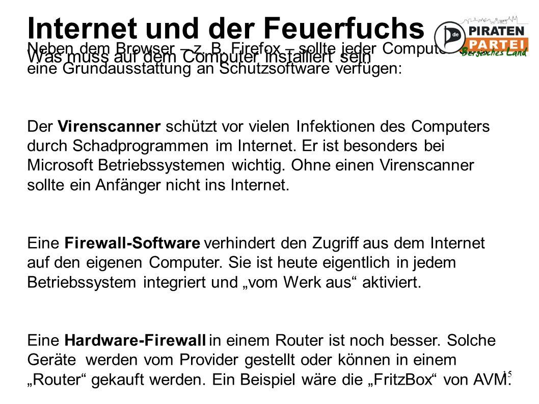 15 Internet und der Feuerfuchs Was muss auf dem Computer installiert sein Neben dem Browser – z.