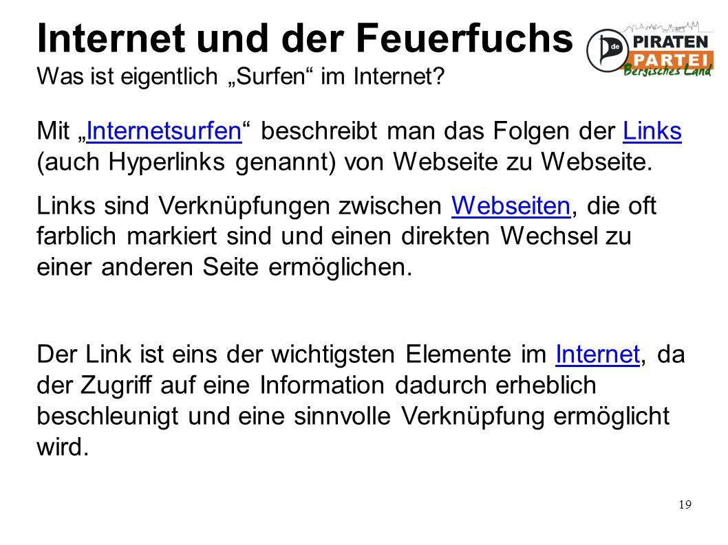 """19 Internet und der Feuerfuchs Was ist eigentlich """"Surfen im Internet."""