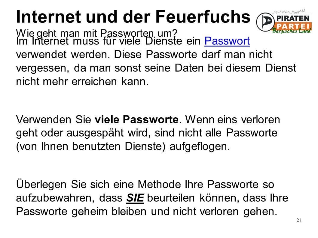 21 Internet und der Feuerfuchs Wie geht man mit Passworten um.