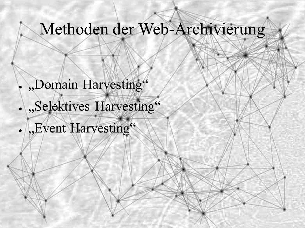 """Methoden der Web-Archivierung ● """"Domain Harvesting ● """"Selektives Harvesting ● """"Event Harvesting"""