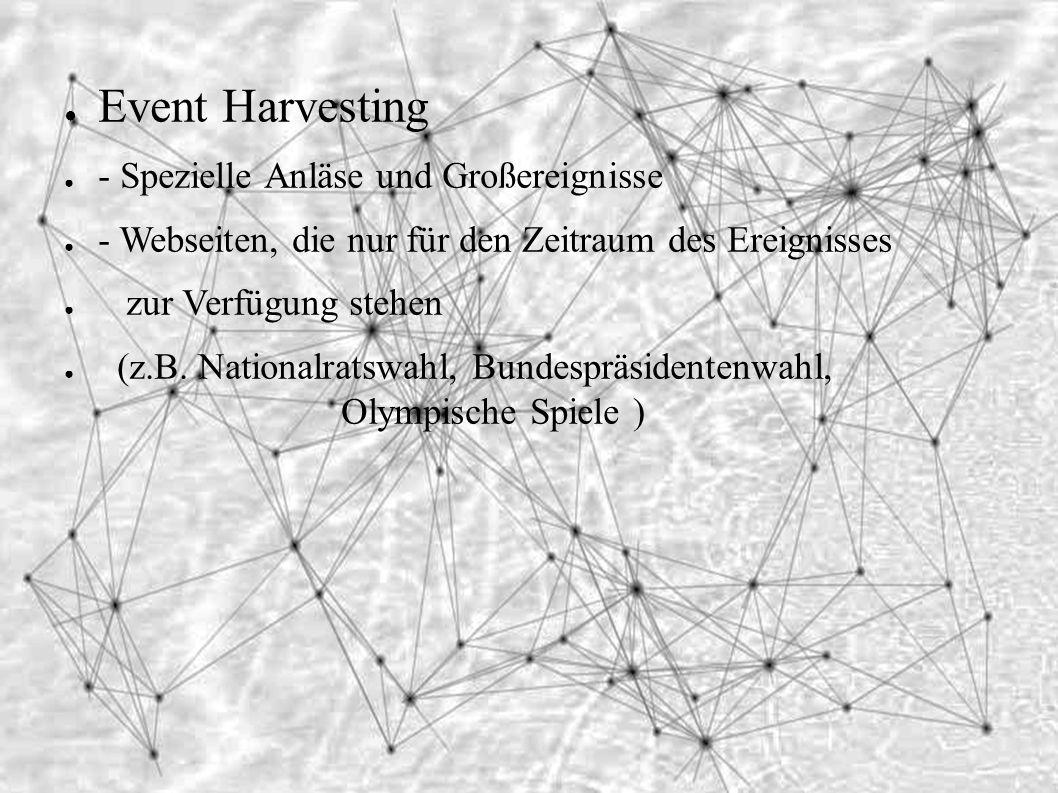 ● Event Harvesting ● - Spezielle Anläse und Großereignisse ● - Webseiten, die nur für den Zeitraum des Ereignisses ● zur Verfügung stehen ● (z.B.