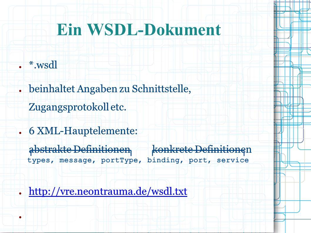 ● *.wsdl ● beinhaltet Angaben zu Schnittstelle, Zugangsprotokoll etc.
