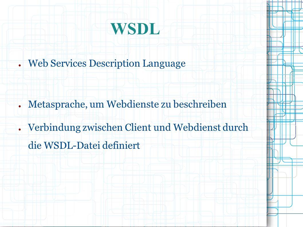 ● Web Services Description Language ● Metasprache, um Webdienste zu beschreiben ● Verbindung zwischen Client und Webdienst durch die WSDL-Datei definiert WSDL