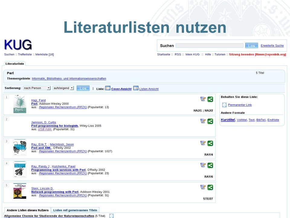 Universität zu Köln Literaturlisten nutzen