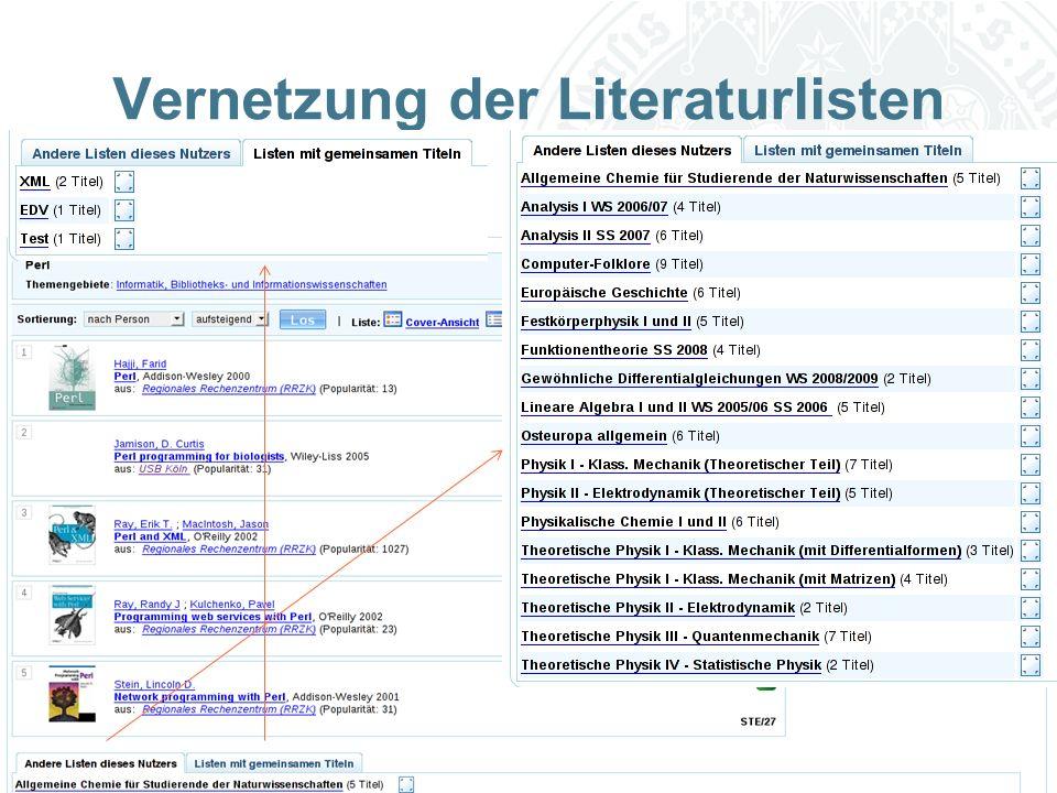 Universität zu Köln Vernetzung der Literaturlisten