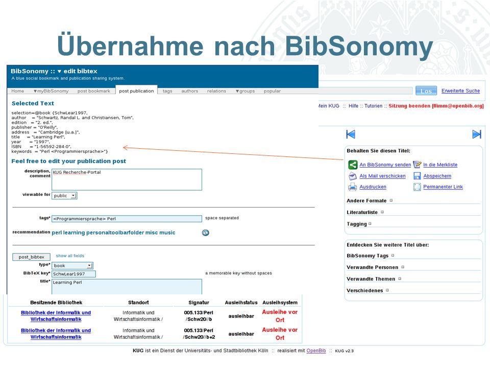 Universität zu Köln Übernahme nach BibSonomy