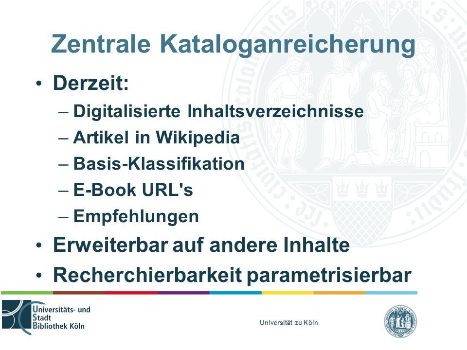 Universität zu Köln Zentrale Kataloganreicherung Derzeit: – Digitalisierte Inhaltsverzeichnisse – Artikel in Wikipedia – Basis-Klassifikation – E-Book URL s – Empfehlungen Erweiterbar auf andere Inhalte Recherchierbarkeit parametrisierbar