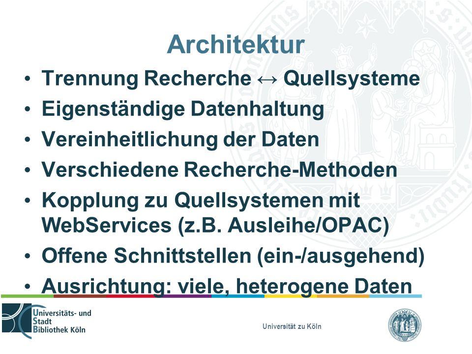 Universität zu Köln Architektur Trennung Recherche ↔ Quellsysteme Eigenständige Datenhaltung Vereinheitlichung der Daten Verschiedene Recherche-Methoden Kopplung zu Quellsystemen mit WebServices (z.B.