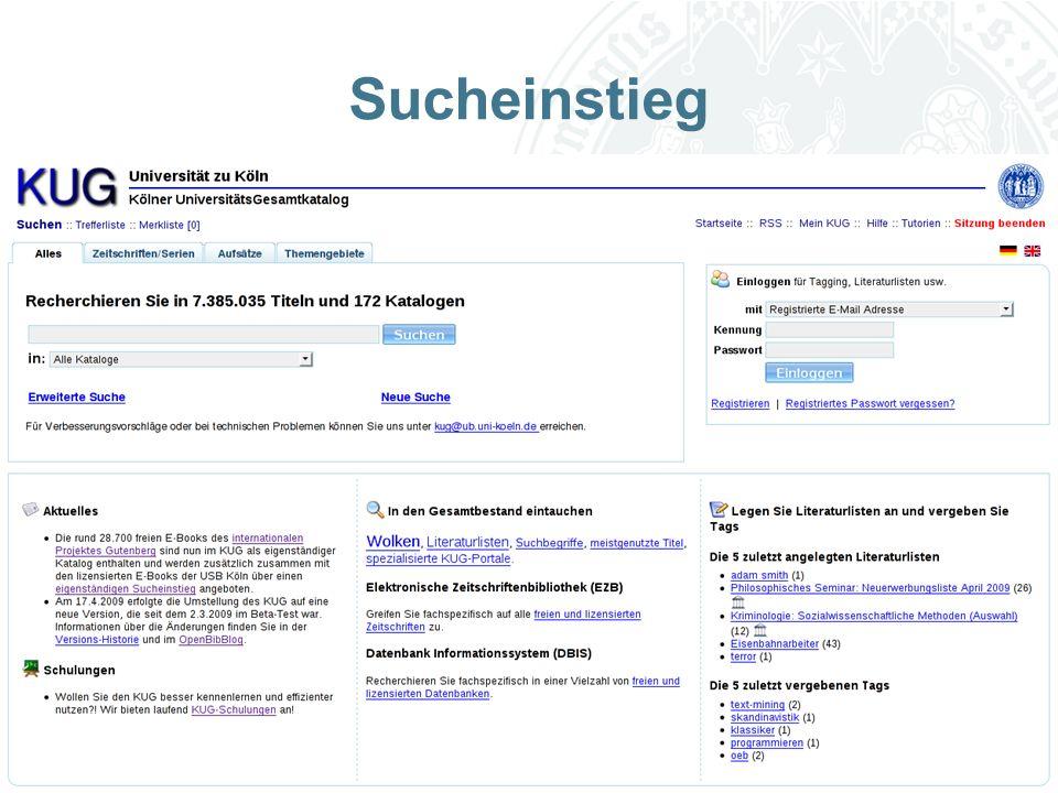 Universität zu Köln Sucheinstieg
